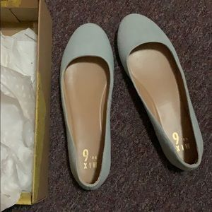 Light blue denim flats
